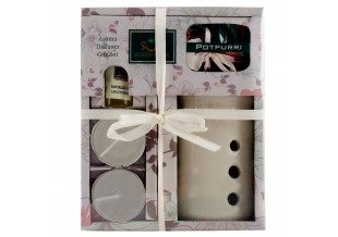 Aroma Diffuser Gift Set Includes 1 Fragrance Vaporizer, 2 Tealights, 1 Vaporizer Oil, 1 Pot Purri Free