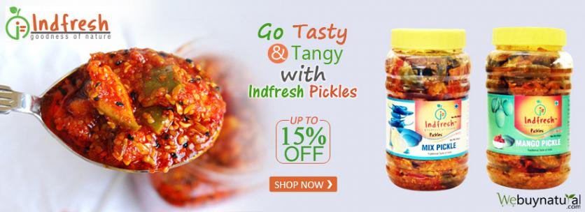 Up to 15% OFF on Home Made Style Indfresh Pickles  Indfresh Pickles are processed using superior quality Fresh Ingredients from the Natural Land where fruits grown naturally without the usage of any pesticide.